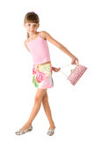 The girl with a pink handbag Stock Photos