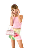 The girl with a pink handbag Royalty Free Stock Images