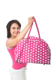 Girl with pink handbag Royalty Free Stock Photography