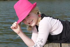 Girl In the Pink Hat Royalty Free Stock Images