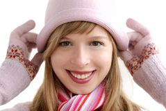 Girl in pink hat Stock Image
