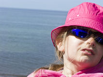 Girl in a pink hat Royalty Free Stock Photos