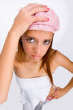 Girl with pink hat. Red-haired girl with pink hat royalty free stock photos