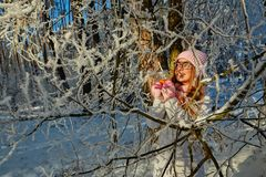 Girl in a pink hat drinking mulled wine in the winter in the forest. Royalty Free Stock Photos