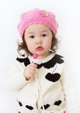 Girl in Pink Hat with Lollipop2 Stock Images