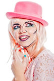 Girl in a pink hat in a pop art style. Royalty Free Stock Image
