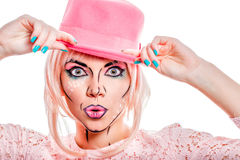 Girl in a pink hat in a pop art style. Royalty Free Stock Photos