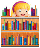A girl with a pink headband hiding at the back of the shelves. Illustration of a girl with a pink headband hiding at the back of the shelves Royalty Free Stock Photo