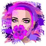 Girl with Pink Hibiscus on Lips Stock Photography
