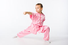 Girl in a pink kimono stock photo
