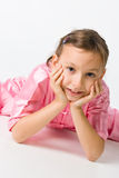 Girl in a pink kimono Stock Images