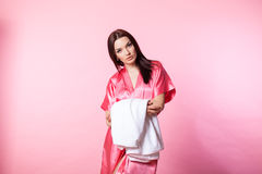 Girl in Pink Lingerie with robe Stock Images