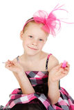 Girl with pink nail polish Royalty Free Stock Image