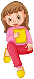 Girl in pink pajamas eating snack. Illustration Royalty Free Stock Photography