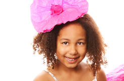 Girl with Pink Paper Flower Royalty Free Stock Photos