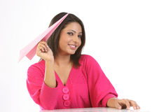girl with pink paper plane Royalty Free Stock Photography