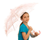 Girl with pink parasol. A pretty girl holding a pink parasol; isolated on the white background Stock Image