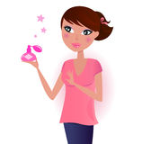 Girl in pink with perfume bottle Stock Photography