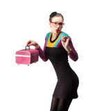 Girl with pink purse Royalty Free Stock Photo