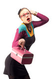 Girl with pink purse Royalty Free Stock Images