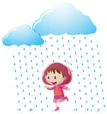 Girl in pink raincoat standing in the rain. Illustration Royalty Free Stock Photos