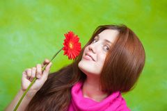 Girl in pink  with red flower Stock Images