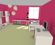 Girl in pink room. 3d render of girl in pink room Royalty Free Stock Photos