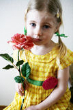 Girl with pink rose. Four year old girl with pigtails in her hair, a yellow gingham dress holding a pink rose Royalty Free Stock Images