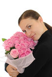 Girl and pink roses Royalty Free Stock Images
