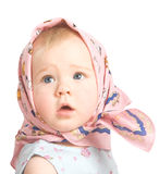 The girl in a pink scarf. The one-year-old baby in a pink scarf on a white background Royalty Free Stock Photos