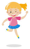 Girl in pink shirt and blue skirt jumping. Illustration Royalty Free Stock Photography