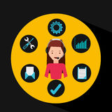 Girl pink shirt support operator assistance. Vector illustration eps 10 Royalty Free Stock Images