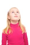 Girl in a pink shirt  surprised Stock Photos