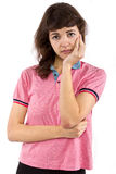 Girl in Pink Shirt Stock Images