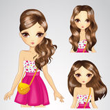 Girl In Pink Skirt And Collection Of Hairstyle. Vector illustration of brunette girl with different hairstyles in pink skirt Stock Images