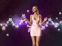 Girl in pink on stars background Royalty Free Stock Photography
