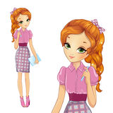 Girl In Pink Style Dress Royalty Free Stock Image