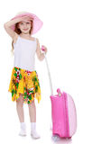 The girl with the pink suitcase Royalty Free Stock Photos