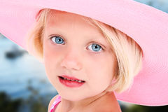 Girl in Pink Sun Hat Royalty Free Stock Photography