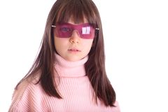 Girl with pink sunglasses Stock Image