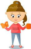 Girl in Pink Sweater. Cute  With Cup And Book. Stock Photography