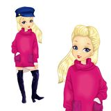 Girl In Pink Sweater And High Boots. Blonde girl dressed in pink sweater and high black boots Royalty Free Stock Photography