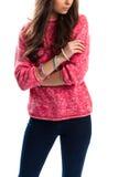 Girl in pink sweatshirt. Royalty Free Stock Photo