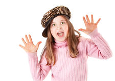 Girl on pink sweeter screaming. Girl on pink sweeter and shiny brown hat Royalty Free Stock Images