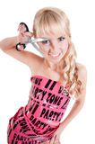 Girl in pink tape dress Royalty Free Stock Image