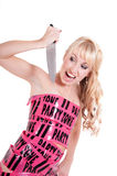 Girl in pink tape dress Royalty Free Stock Images