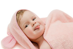 Girl in a pink towel. The little girl in a pink towel Royalty Free Stock Image