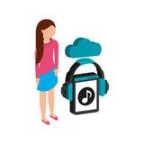 Girl pink tshirt cloud streaming music. Vector illustration eps 10 royalty free illustration