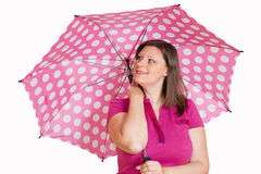 Girl with pink umbrella Royalty Free Stock Photo