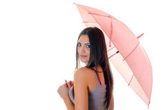 Girl with pink umbrella Stock Images